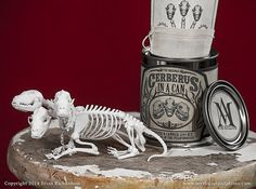 Cerberus Skeleton in a Can - Also available: Chupacabra, werewolf, centaur, alien, unicorn, and so on.