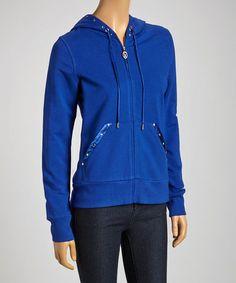 Look what I found on #zulily! Blue Stud Zip-Up Hoodie #zulilyfinds