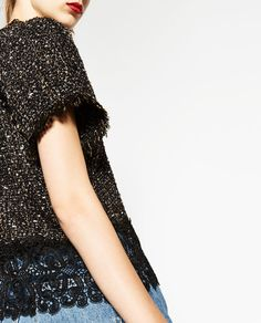 Image 6 of FRAYED TWEED TOP WITH LACE from Zara