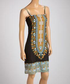 Love this Mustard & Green Sleeveless Shift Dress by BHAG'S BOHO on #zulily! #zulilyfinds