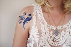 Delft Blue bird temporary tattoo / Delft Blue by Tattoorary