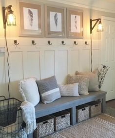 Small mudroom ideas diy entryway bench ideas best of farmhouse bench free plans and video tutorial Farmhouse Bench, Farmhouse Decor, Farmhouse Interior, Vintage Farmhouse, Modern Farmhouse, My New Room, Home Projects, Home Remodeling, Houses