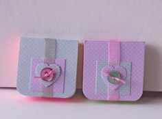 Mini Notebooks Set of Two,Pink and Green Dotty Print,Handmade Notebooks £2.80