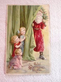 Vintage Christmas Postcard Santa children $4 #marycarol
