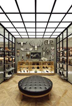 Image result for small minimal fashion boutique interior design ceiling light
