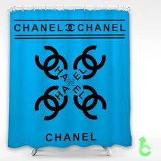 Cheap Chanel black logo cross blue surface Shower Curtain