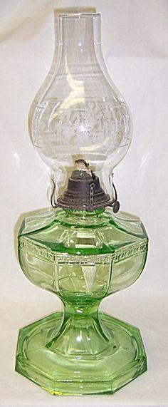 Vintage Depression Green GREEK KEY Large OIL LAMP