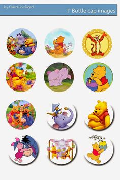 Folie du Jour Bottle Cap Images: Winnie the Pooh free digital bottle cap images