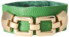 Soft Wide Leather Bracelet with Gold Plated Chain in Green