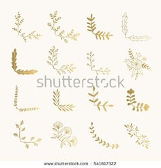 Set of golden floral corners. Hand drawn ink illustration. Vector isolated