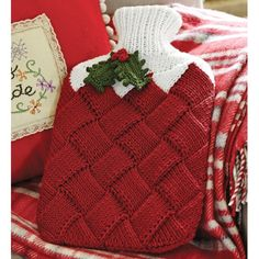 The entrelac hot-water-bottle cover insulates and protects. The body is ideally sized for those new to the entrelac technique. Holly leaves and berries lend holiday cheer but can be left off if you prefer a year-round look. Knitting Patterns Free, Free Knitting, Crochet Patterns, Knitting Projects, Crochet Projects, Water Bottle Covers, Christmas Knitting, Crochet Christmas, Christmas Crafts