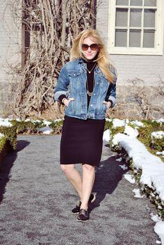 thoughtfulwish | spring outfit // boston fashion // boston blogger // ootd // fashion // denim // turtleneck dress // meredith wish