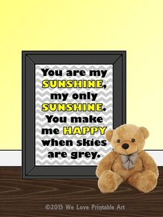 You are my Sunshine - Quote Lyrics Print, Printable Poster wall art decor poster digital typography - yellow gray chevron Nursery Signs, Room Signs, Nursery Room, Baby Room, Bedroom, Baby Bible Verses, Printable Art, Printables, Sunshine Quotes