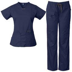 Cute Scrubs Uniform, Cute Nursing Scrubs, Vet Scrubs, Doctor Scrubs, Scrubs Outfit, Nursing Clothes, Cute Medical Scrubs, Navy Blue Scrubs, Black Scrubs
