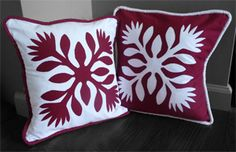 Hawaiian Quilt Pillow Covers.  Aloha Designs.