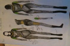 Designs for the top, trousers and boots of my Loki cosplay for next year (excuse the scruffiness, I rushed)