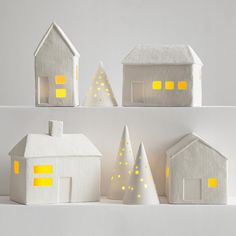 all is calm, all is bright.  porcelain luminaria village set/ Red Envelope
