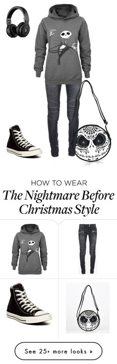 """Nightmare Before Christmas"" by djknight on Polyvore featuring Balmain and Converse"