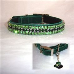 Luck of the Irish St Patrick's Day Dog Collar    Perfect for St Patrick's Day, our Luck of the Irish crystal dog collar is forest green with peridot and emerald crystal. Gorgeous.