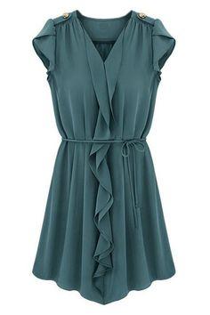Pleated Hem Navy Blue Dress