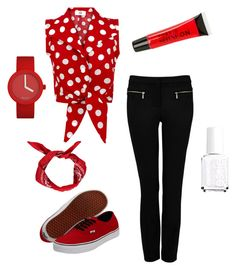 Modern Pin up in red ❤️ by karol-camz on Polyvore featuring polyvore, fashion, style, Forever New, Vans, Torrid, Essie and modern