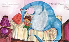 "The Blue Caiman. Xavier Frías Conde / Daniel Montero Galán ISBN: Isabel enters the living room with a big blue bump. When her mom sees her and asks: ""Who has given you this toy?"", Isabel responds: ""This is not a toy. It is an animal, a blue caiman! Bump, Spain, Living Room, Toys, Illustration, Blue Nails, Animales, Illustrations"