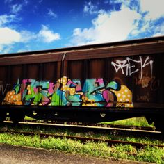 Grafitti on an old train in Kolding