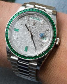 "Super Rare €430,000 Rolex Day-Date 40 Green Emerald Platinum Watch Hands-On - by David Bredan - a unique encounter & a ton of breathtaking photos on aBlogtoWatch.com ""To this day, Rolex still makes some extremely rare watches. And when you encounter one, things start as unassumingly as a green box, different from the one most of their watches come in, with a Rolex crown at '6 o'clock.' You might agree that this is the typical presentation of a watch built The Rolex Way..."""