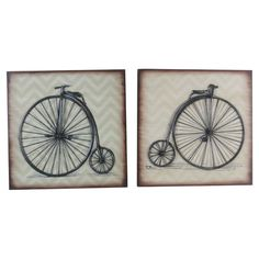 2 wood wall tiles with old-fashioned bicycles against chevron backgrounds.   Product: 2 Piece wall art setConstruct...