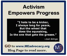 "Read @meadvocacy_org 's ""Activism Empowers Progress"" - http://www.meadvocacy.org/activism_empowers_progress … #MyalgicE #PWME #MECFS #CFS #SevereME"