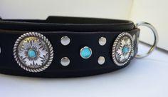 "Blue Leather Dog Collar, ""Double Blue Jasmine"", Custom Leather Dog Collar www.kincollars.com"