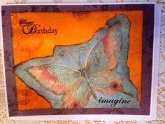 Handmade card/happy birthday/butterfly/distress