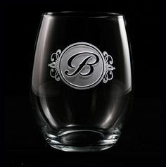 inital engraved stemless wine glass