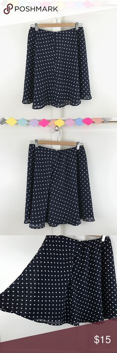 """Dark Blue Polka Dot Skater Skirt Dark Blue Polka Dot Skater Skirt. A pretty polkadot skirt that's cute alone of paired with your favorite leggings. Can fit a range of sizes from M-L. ✔️Price is firm ✔️No trades  100% Polyester. Size Medium.   Waist: Stretches up to 34"""" Length: 19"""" Skirts Circle & Skater"""