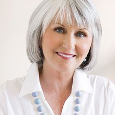 """Is Your Hair Aging You? Problem: A Salt-and-Pepper Mane Solution: Gentle Color """"New dyes cover grays for longer than ever, while protecting already fragile hair,"""" [. Grey Hair With Bangs, Grey Hair Inspiration, Gray Hair Highlights, Natural Hair Styles, Short Hair Styles, Salt And Pepper Hair, Hair Styles For Women Over 50, Haircut For Older Women, Lavender Hair"""