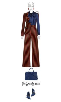 """""""Office outfit: Navy - Red"""" by downtownblues ❤ liked on Polyvore featuring Ana Alcazar, VAN LAACK, Yves Saint Laurent and Mixit"""