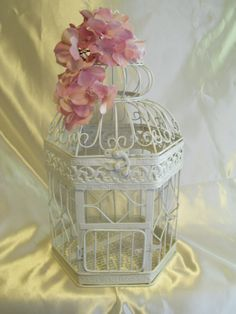 Birdcage White Shabby Chic / Decorative Birdcage / Home Decor. Via Etsy.