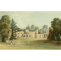 Gendall Stretched Canvas Art - Repository of Arts 1817 Sophia lodge - Medium 18 x 24 inch Wall Art Decor Size. Hamptons House, The Hamptons, Eaton Hall, Frogmore House, Belmont House, British Nobility, King George Iv, Lodge Decor, Country Estate