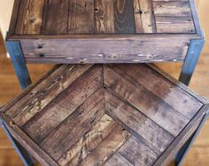 A great little desk made out of repurposed wood from a pallet. Has amazing character and patina. Shows the rough life it probably has had, but cleaned up enough to make for a nice little desk. All surfaces sanded and polished nice, but not too much to remove the history of the wood. Legs are an 1 3/4 metal angle iron, adding to the nice heft and feel of this desk.  Dimensions- 30T x 34W x 23D (approx)  If you would like this exact desk, but with a drawer, I have one listed here…