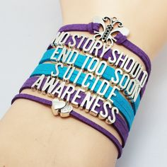 """""""No Story Should End Too Soon"""" Multi-Colored Velvet Suicide Prevention & Awareness Bracelet. Comes in Purple & Blue color combination and Yellow. You will get the same bracelet as the pictures, and th"""