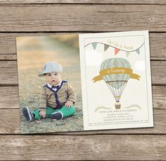 Hot Air Balloon Boy Birthday Invitation by deanworks on Etsy Baby Shower Balloons, Birthday Balloons, Baby Shower Invites For Girl, Baby Shower Invitations, Baby Boy 1st Birthday, Birthday Ideas, Birthday Blessings, First Birthday Invitations, Hot Air Balloon