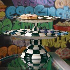 Courtly Check Enamel Pedestal Platter - Large, Small  & Mini