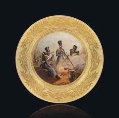 A PORCELAIN MILITARY PLATE BY THE IMPERIAL PORCELAIN FACTORY, ST PETERSBURG, PERIOD OF NICHOLAS I, 1844