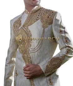 Cream Groom hand embroidered Sherwani for Men Informations About Cream Groom Wedding Sherwani for Men Pin You can easily use my pr Groom Wear, Groom Outfit, Wedding Sherwani, Wedding Groom, Cream, Profile, Men, Outfits, Website