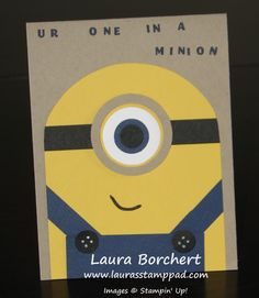 One in a Minion by stampinandscrapboo - Cards and Paper Crafts at Splitcoaststampers Minion Card, Minions, Boy Cards, Kids Cards, Despicable Me Crafts, Minion Party Invitations, Punch Art Cards, Homemade Greeting Cards, Chalk Markers