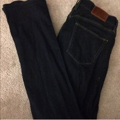 Madewell dark wash jeans These Madewell rail straight jeans were purchased from another posher and never fit me well enough to wear outside of the house. The zipper is faulty which is reflected in the price. I'm sure it could be fixed if you have the time but I do not. Happy poshing! 💜 Madewell Jeans Straight Leg