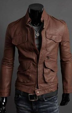Charming & Trendy Multi-pocket Stand Collar Slim Long Sleeve Leather Jacket---- Coffee