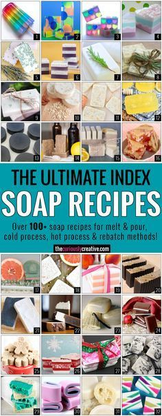 The Ultimate Soap Making Recipe Index - Includes over 100 soap recipes for melt & pour, cold process and hot process methods.The Ultimate Soap Recipe Index - The Curiously CreativeLifesacake homemade-bodyshop and remedies/naturkosmetik T Soap Making Recipes, Homemade Soap Recipes, Recipe Making, Bath Recipes, Homemade Crafts, Diy Crafts, Diy Cosmetic, Savon Soap, Soap Making Supplies