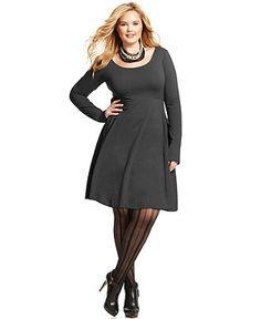 Angie Plus Size Long-Sleeve A-Line Dress - Plus Size Dresses - Plus Sizes - Macy's