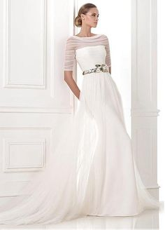 Amazing Tulle & Satin A-line Bateau Neckline Natural Waistline Wedding Dress